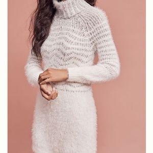 Anthropologie eyelash sweater turtleneck dress